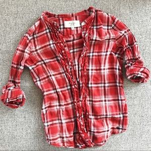 Red plaid Abercrombie & Fitch shirt with ruffles